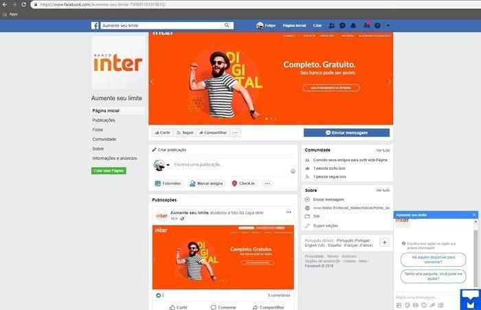 Golpe de página falsa do Banco Inter