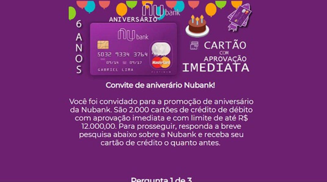 Nubank faz aniversário