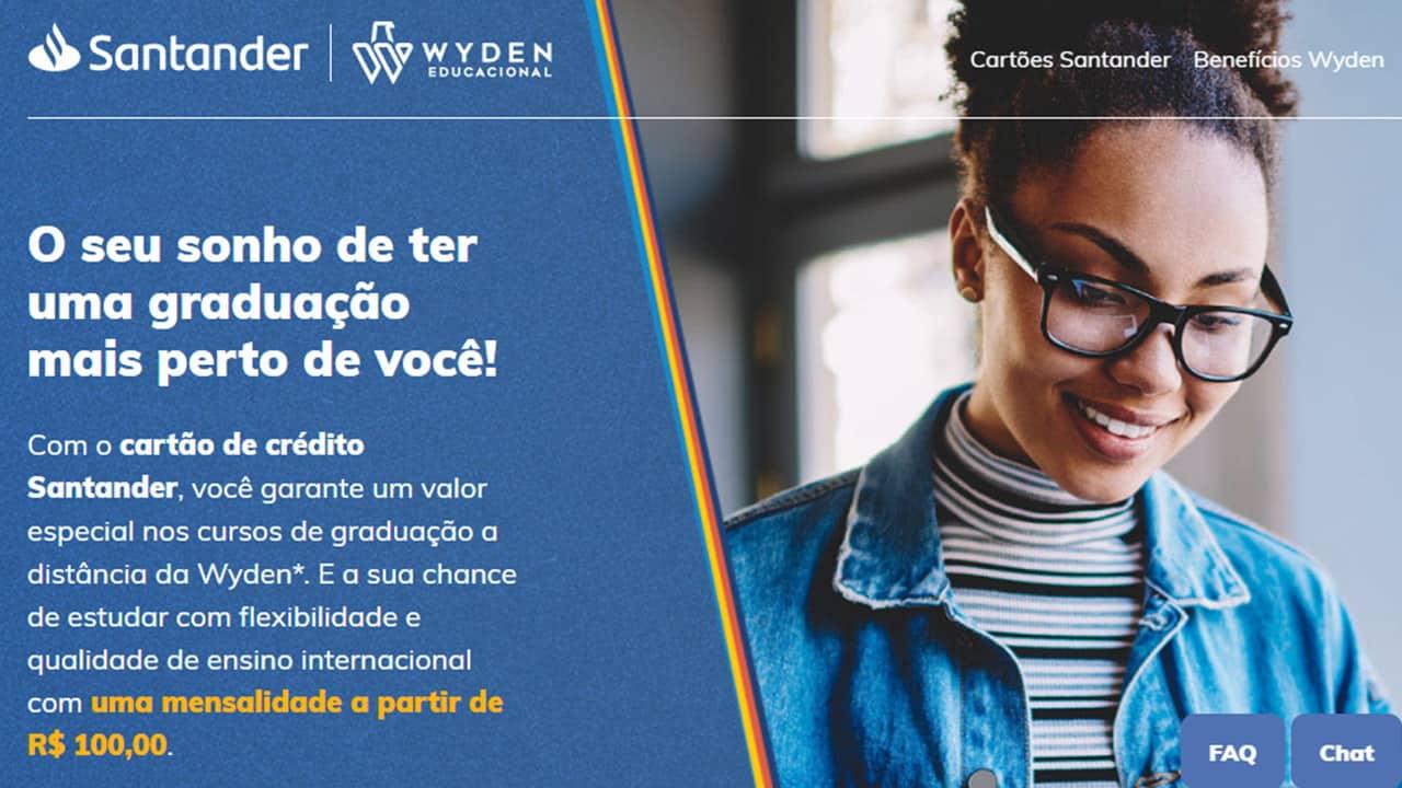 Clientes do cartão Santander Free podem fazer faculdade por apenas R$ 100,00