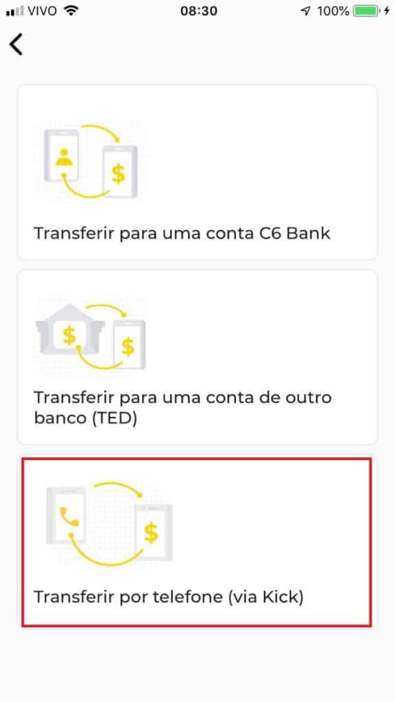 C6 Kick - como enviar dinheiro grátis para qualquer número de celular