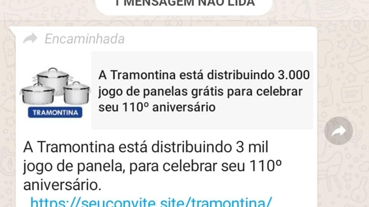 Será que a Tramontina vai sortear 3000 jogos de panelas pelo WhatsApp?