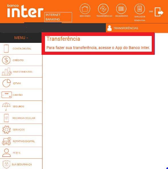 Transferências pelo Internet Banking