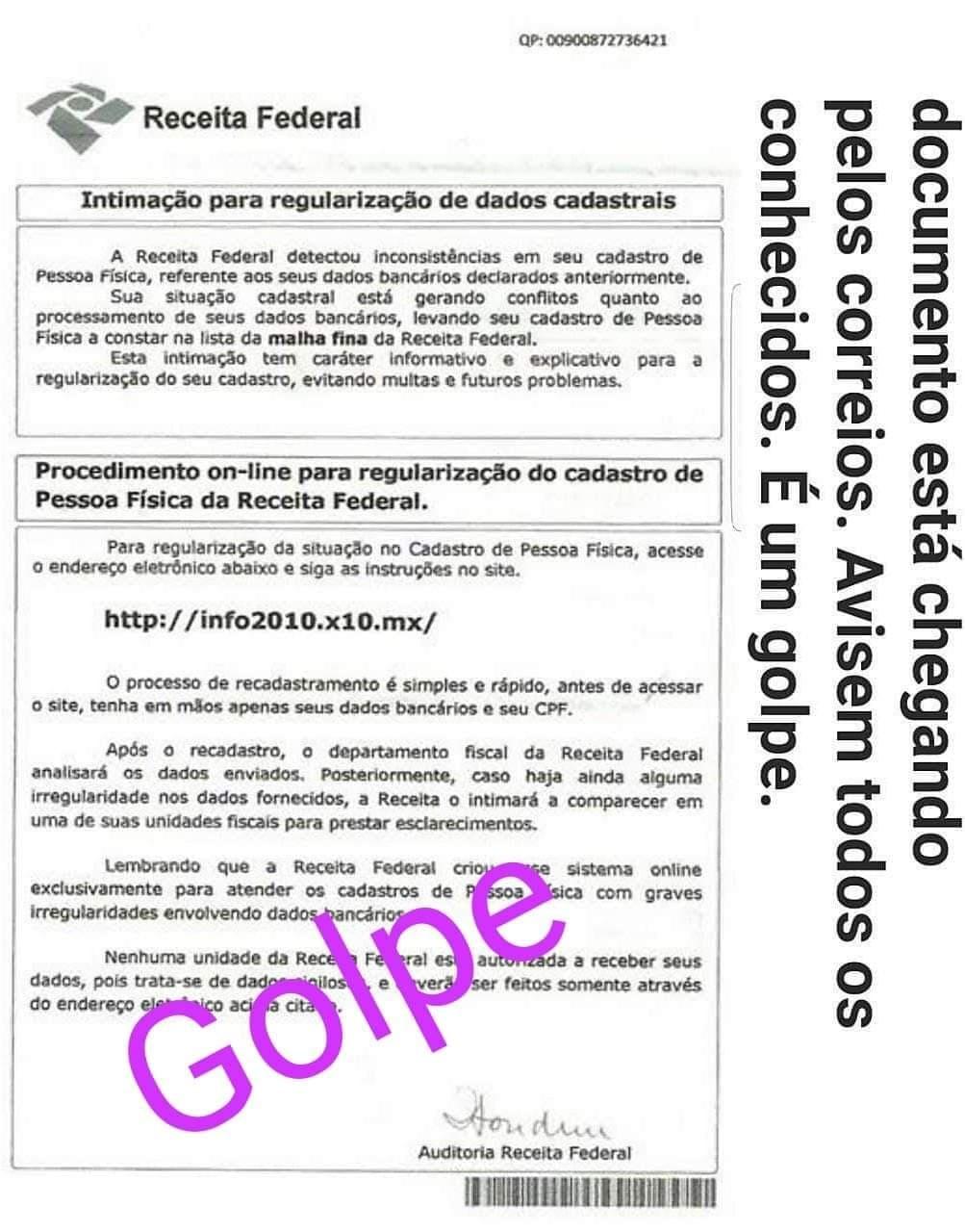 golpe falsa notificacao Receita Federal