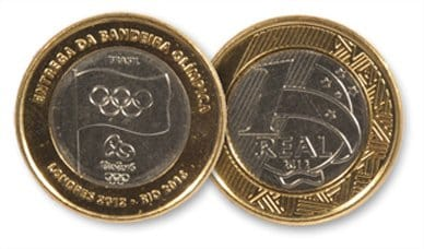 A moeda da bandeira olímpica não foi lançada em nenhum lote distribuído entre 2014 e 2016. Esse modelo é o mais antigo, lançado em 2012, e representa a passagem da bandeira dos Jogos Olímpicos de Londres para o Rio de Janeiro