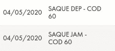 SAQUE DEP COD 60