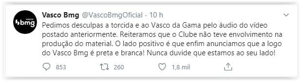 tweet oficial do Banco BMG