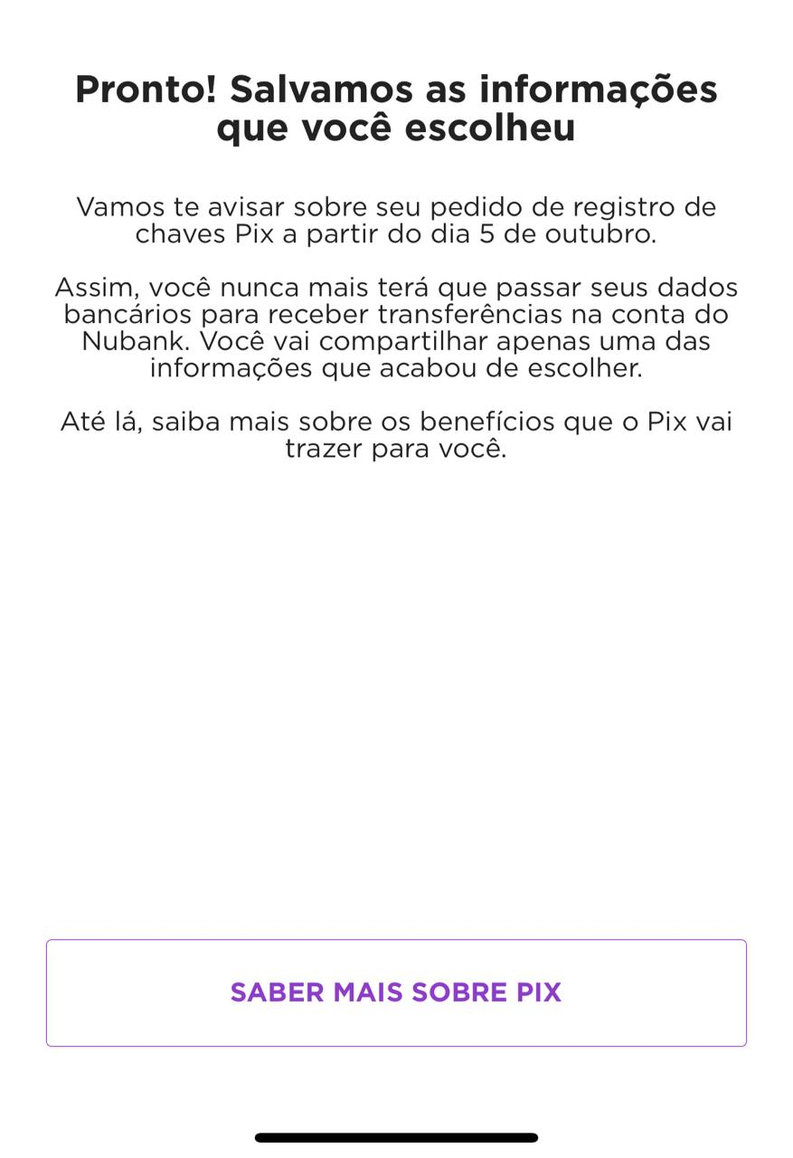 cadastro do PIX app do Nubank