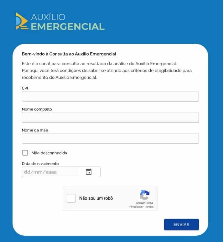 Auxílio emergencial cancelado