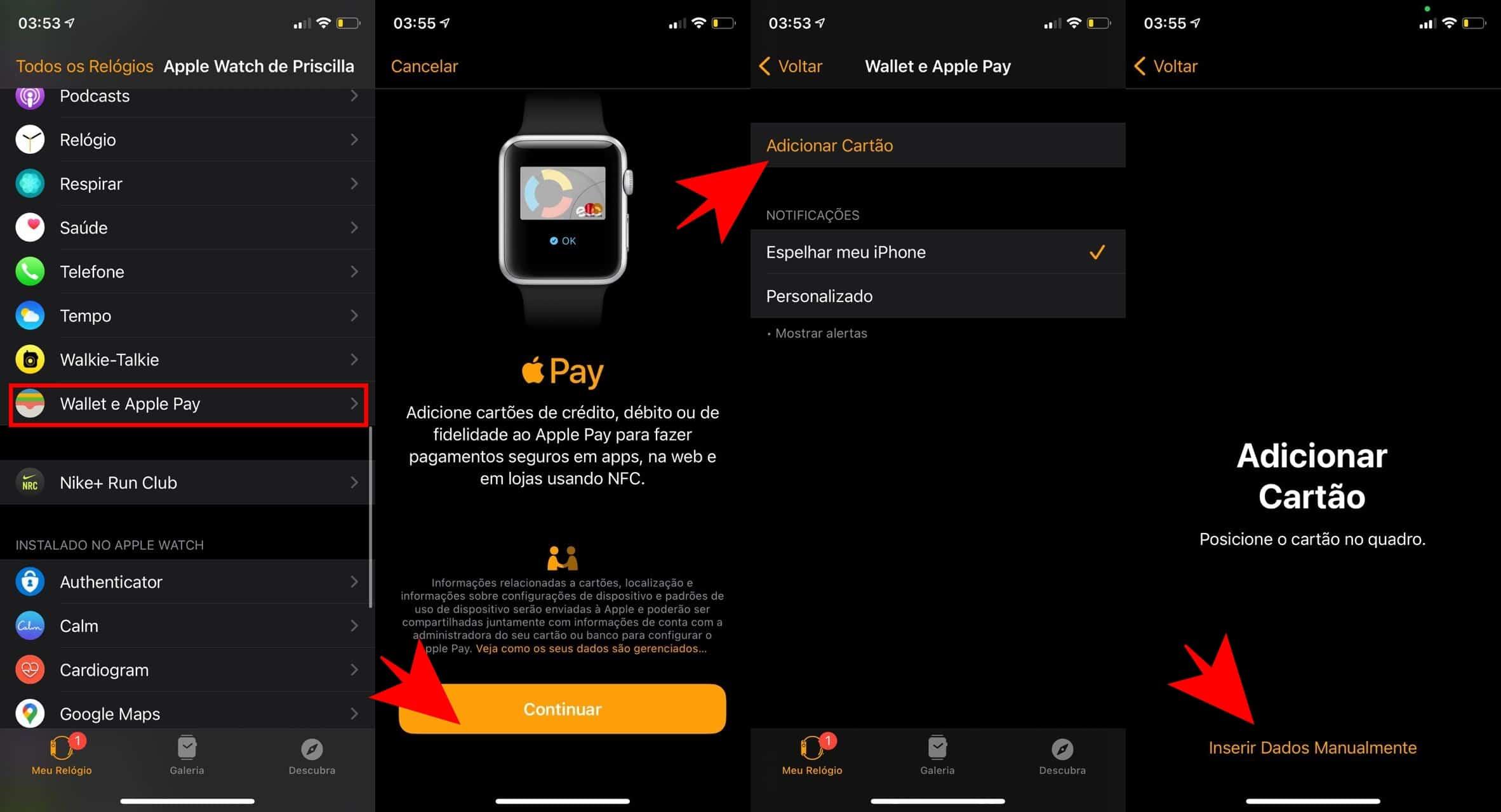 Como configurar o Apple Pay em um Apple Watch