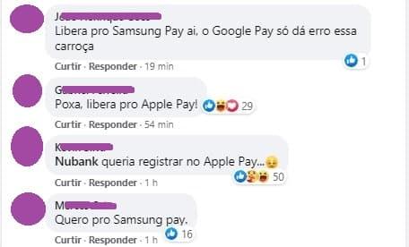 clientes pedem Apple Pay e Samsung Pay