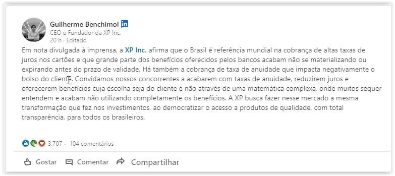 post de Guilherme Benchimol no LinkedIn