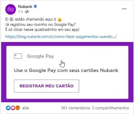 post do Nubank no Facebook