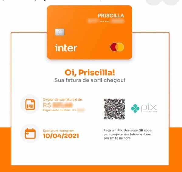 Como pagar a fatura do cartão de crédito do Banco Inter pelo Pix