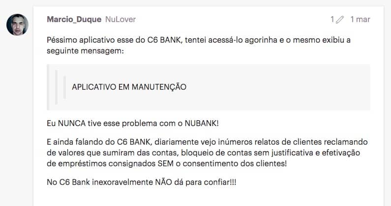 Clientes do Nubank criticam C6 Bank