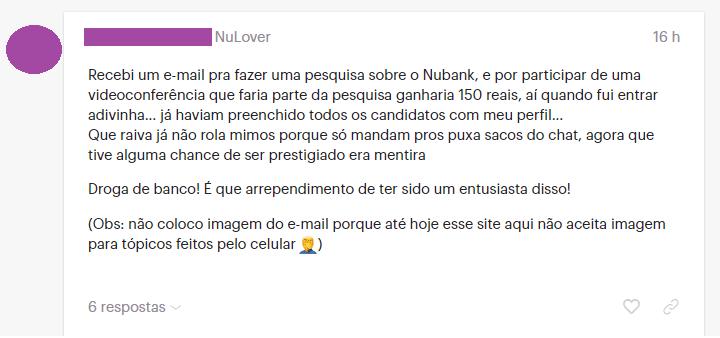 cliente critica pesquisa do Nubank